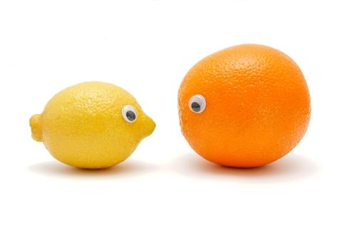 Lemon and orange with eyes pasted on