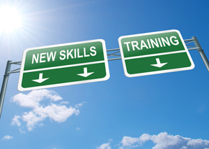 Sign indicating new skills and training this way-IBDE online web design